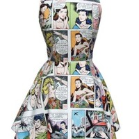 Women's Pinup Comic Strip Skater Dress