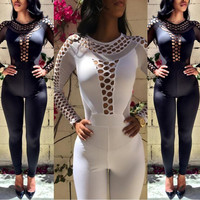 Hollow Out Stitching Tight Jumpsuit Rompers