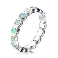 Boho Female Girls White Fire Opal Stone Ring High Quality Fashion 925 Sterling Silver Jewelry Vintage Wedding Rings For Women