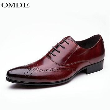 OMDE High Quality Men Oxfords Shoes British Style Carved Genuine Leather Shoe Brogue Shoes Lace-Up Bullock Business Men's Flats