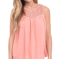 Paradise Found Lace Yoke Tank Top