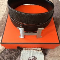 fashion belt leather Hermes brown/black buckle H