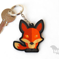 Animal Keychain from wood, Red fox handmade keychain, Animal lovers keychain,Wild animal keyring, Laser cut keychain, Printed Keychain, Gift