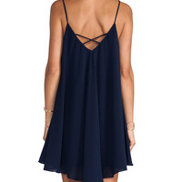 Dark Blue Spaghetti Strap Pleated Mini Dress