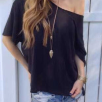 Blouse,Women's Sleeve Casual Tops T-Shirt Black