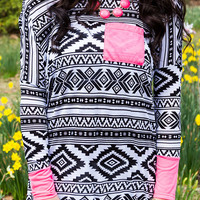 Last Friday Night Black And White Aztec Print Long Sleeve Tunic Top With Neon Pink Pocket