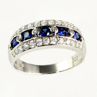 Sapphire Blue September Brithstone Art Deco Ring Cubic Zirconia Sterling Engagement Wedding Anniversary Ring Sterling Band Ring CZ ring