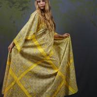 Wonderful 70s maxi tent dress / authentic indian cotton vintage haute hippie hand made dyed fabric block print / Woodstock peasant gown