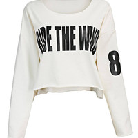 """""""Ride The Wind"""" Letter Print Cropped Top in White"""