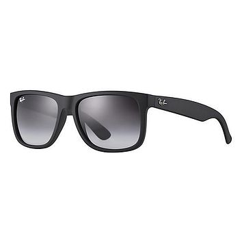 Ray Ban Justin Sunglass Black Rubber Grey Gradient RB 4165 601/8G