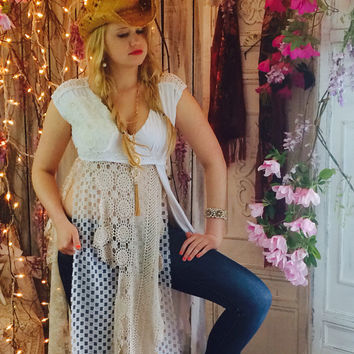 White Tunic, Bohemian Prairie crochet top, Gypsy cowgirl glam, Romantic country chic clothing, Shabby cottage lace, True rebel clothing