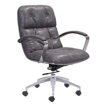 """Leather Office Chair - 27.6"""" X 27.6"""" X 41"""" Gray Vintage Leatherette Office Chair"""