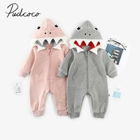 2019 Baby Spring Autumn Clothing Newborn Kid Baby Boy Girl Shark Hoodie Romper Jumpsuit Hooded Clothes Zipper Long Sleeve Outfit