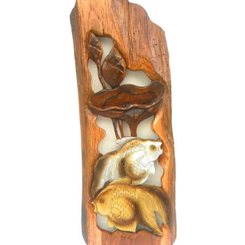 """Wood Carving Two Fish With Lotus Flower Hand Carved Natural Teak Wood Two Fishes Wall Hanging Art Home Decor Handmade / Gift 26"""" x 9.5"""""""