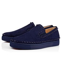 Christian Louboutin CL Pik Boat Men's Flat China Blue/china Blue Suede 11s Sneakers Online