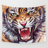 Tiger Wall Tapestry by Olechka