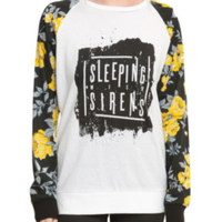 Sleeping With Sirens Floral Sleeve Girls Pullover Top