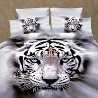 White Tiger 3D Printed Polyester Luxury 4-Piece Bedding Sets