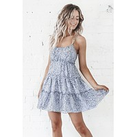 Prowl Down Blue Animal Print Tiered Dress