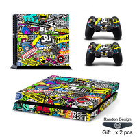 STICKERBOMB Skin Sticker For PS4 Playstation 4 Console & 2 Controller Skins for Play station 4 Game Console Stickers Skin