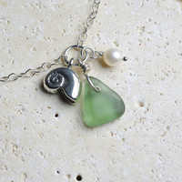 Sterling Silver Anklet - Sea Glass Jewelry - Mint Green Nautilus Seashell Charm
