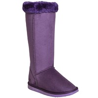 Womens Mid Calf Boots Fur Cuff Trimming Casual Pull on Shoes Purple