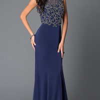 Long Beaded Cap Sleeve Prom Dress