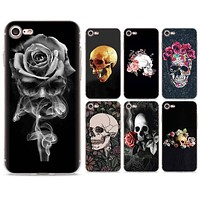 Skull 📱💀 Rose Silicone case cover for Apple iPhone