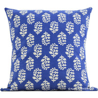 "16"" Blue Indian Floral Hand Block Print Cotton Toss Cushion Cover"