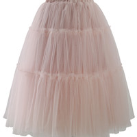 Amore Tulle Midi Skirt in Pink Pink Free