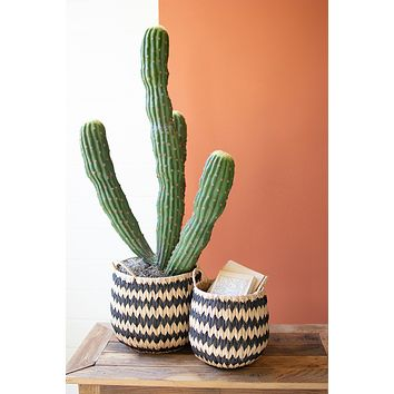 Set of 2 Tall Round Black & Natural Seagrass Baskets With Handles