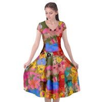 Coloful Strokes Canvas Cap Sleeve Wrap Front Dress