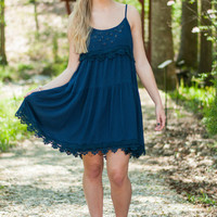 Cut To The Lace Dress, Navy