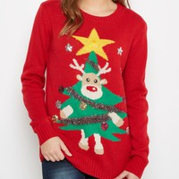 Red Light Up Reindeer Tree Ugly Christmas Sweater | Sweaters | rue21