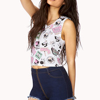 FOREVER 21 Welcome To Palm Springs Crop Top White/Pink Medium
