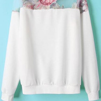 White Floral Innovative Organza Paneled Sweatshirt