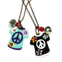 Boho Peace Sign Necklace Hand Painted Hippie Boho Chic Jewelry FREE SHIPPING
