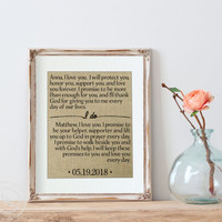 Wedding Vows Burlap Print | Personalized Anniversary Gift for Her | Anniversary Gift for Her | Husband Gift | Wife Gift | Newlywed Gift