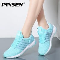 PINSEN Fashion Sneakers Women 2017 Tenis Feminino Casual Shoes Woman Outdoor Trainers Shoes Women Lace Up Flats Chaussure Femme