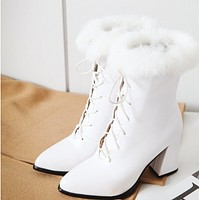 The new chunky high heel short tube lace-up leather boots for women shoes