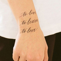 Tattly Live Learn Love Temporary Tattoos