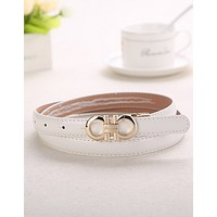 FERRAGAMO 2018 summer new wild leisure women's paint belt F0448-1 white