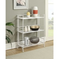 Convenience Concepts Designs2Go White 3-Tier Folding Metal Shelf-8019W - The Home Depot
