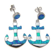 INLAY OPAL HAWAIIAN ANCHOR EARRINGS HEAVY SOLID 925 STERLING SILVER 17.70MM
