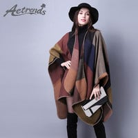 [AETRENDS] New Brand Women's Winter Poncho Vintage Blanket Women's Lady Knit Shawl Cape Cashmere Scarf Poncho Z-2241