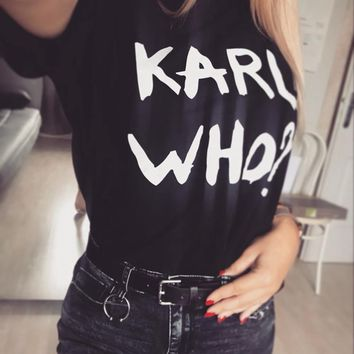 Karl Who Logo T-shirt Shirts SHIRT TSHIRT Cotton Women European Size Plus Size Good Quality Short Sleeves Harajuku Summer Tops