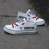 Boricua Flag Pride Shoes Low Top Canvas Custom Printed Sneakers