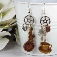 Steampunk Mismatched Alice in Wonderland Earrings