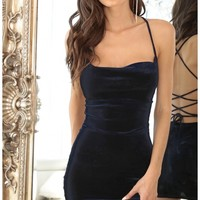 Party dresses > Cowl Neck Velvet Dress In Royal Blue