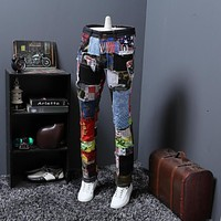 Mens Fashion Brand Reasard New Arrival Stitching Colorful Fabric Jeans Men High Quality 28 -38